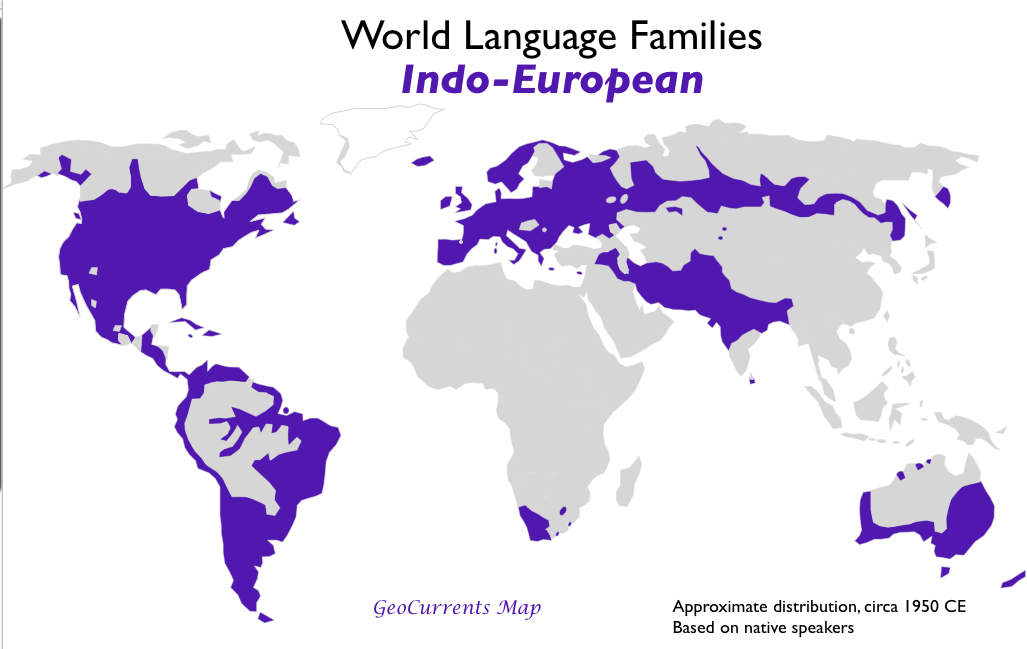 Simple Map Of Indoeuropean Languages By GeoCurrents Map World - Native language world map