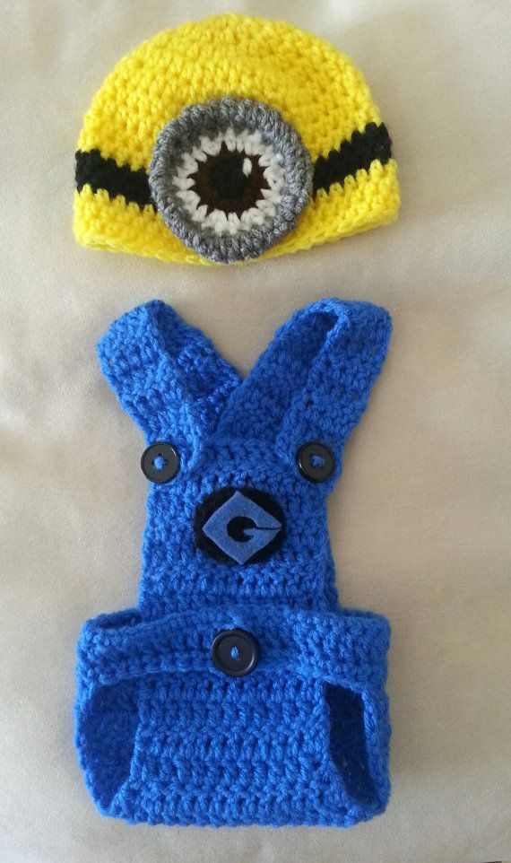 Despicable Me Minion Crochet Hat and Diaper by Knotjuststring, USD36.00 Knot ...