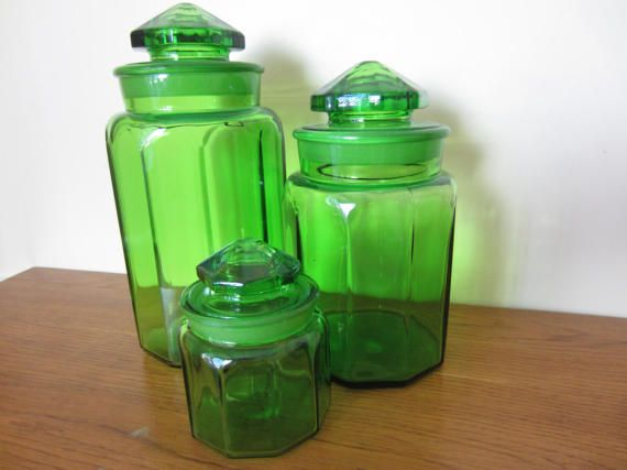 Vintage Set Of Three Heavy Green Glass Canisters. Kitchen