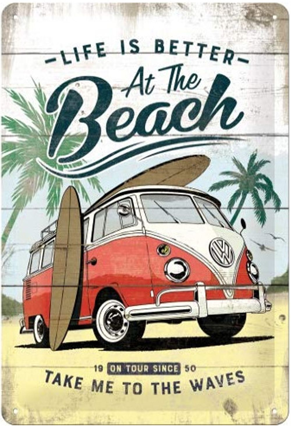 Retro Nostalgie Blechschild Vw Bully Beach In 2020 Vintage Blechschilder Retro Schilder