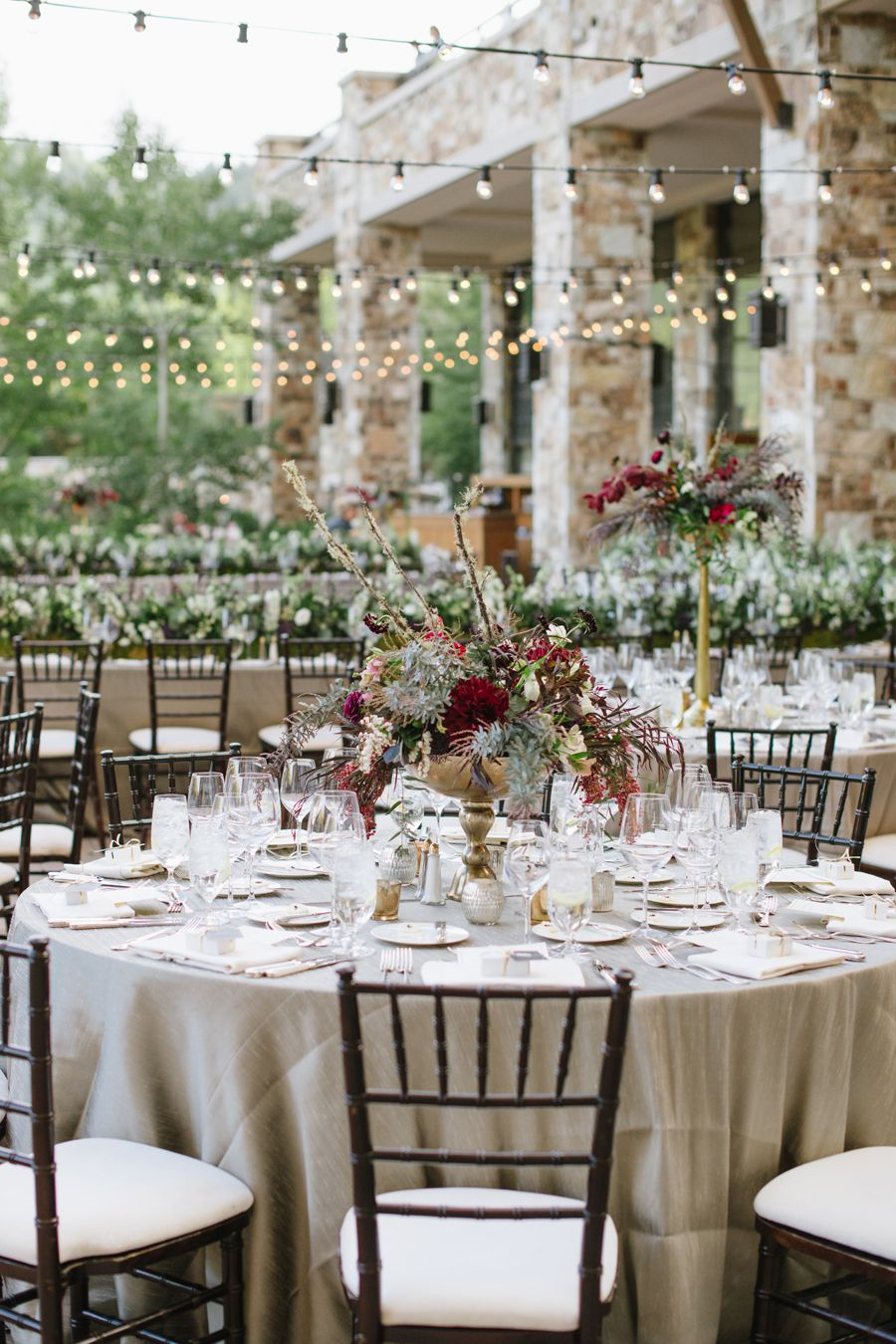 Gold and burgundy reception floral wedding event design for Burgundy wedding reception decorations