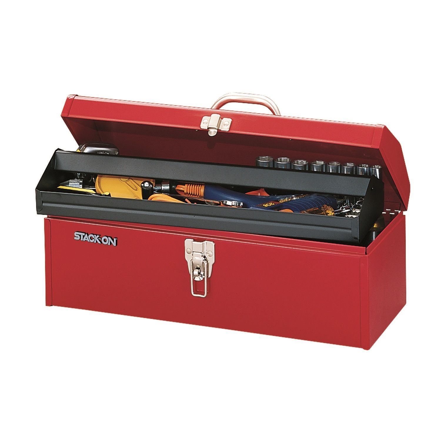 """StackOn 19"""" MultiPurpose Hip Roof Tool Box Red Roof"""