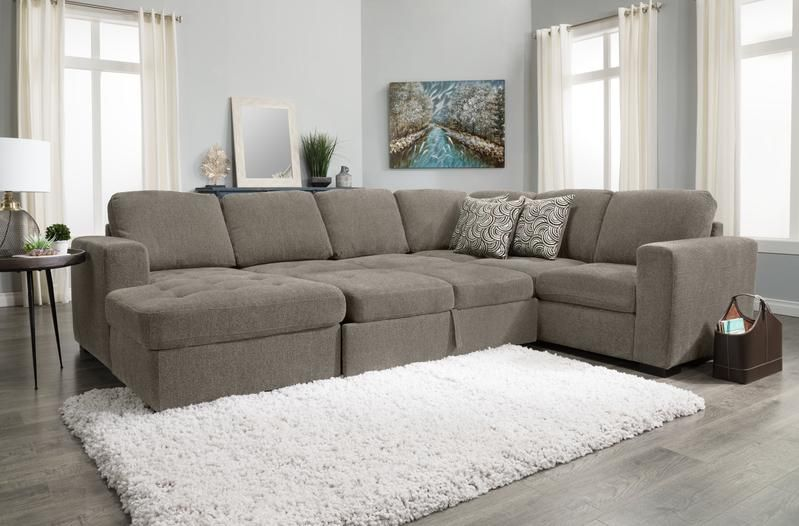 Izzy 3 Piece Chenille Left Facing Sleeper Sectional With Storage Ch Storage Chaise Sleeper Sectional Sectional