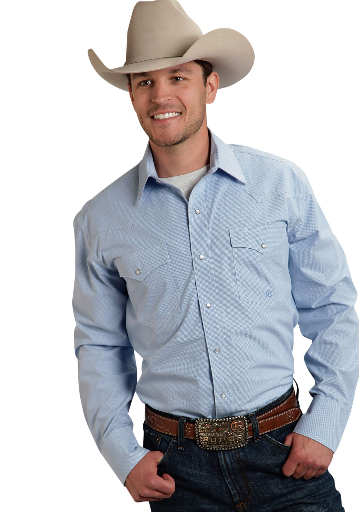 38583d6acb Roper Mens 9596 Mini Checks - Blue Amarillo Blue Horizon Long Sleeve Shirt  Snap Closure - 2 Pocket