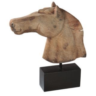 Carved Wood Horse Head on Stand