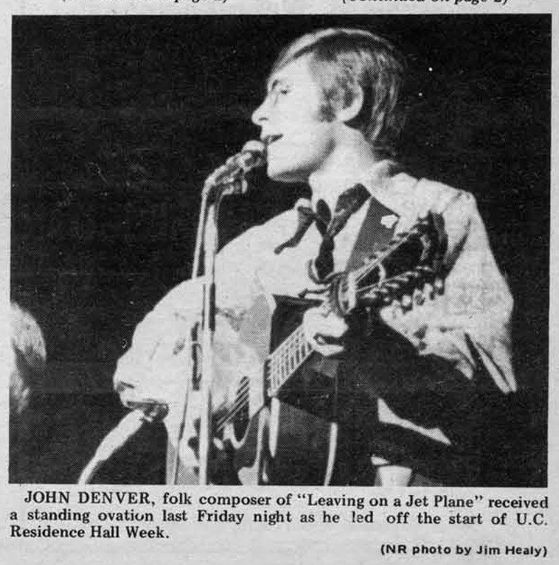 John denver at the university of cincinnati in 1970 early