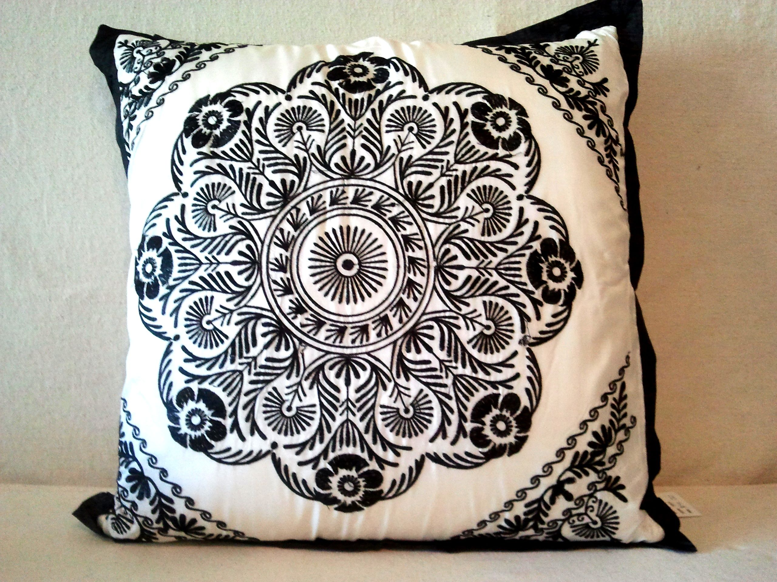 Classic Black and white - gorgeous embroided satin cushion