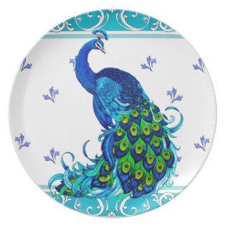 Blue swirl Border and Peacock Design Plates