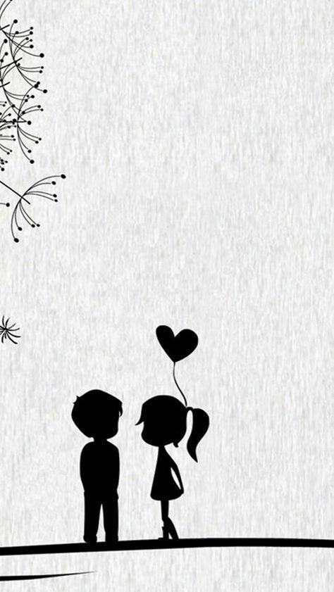 Magnifique dessin abstrait noir et blanc dessin noir et blanc paysage amour silhouettes enfants