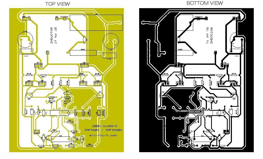 200W Class D Power Amplifier IRF540/IRF9540 | Desain