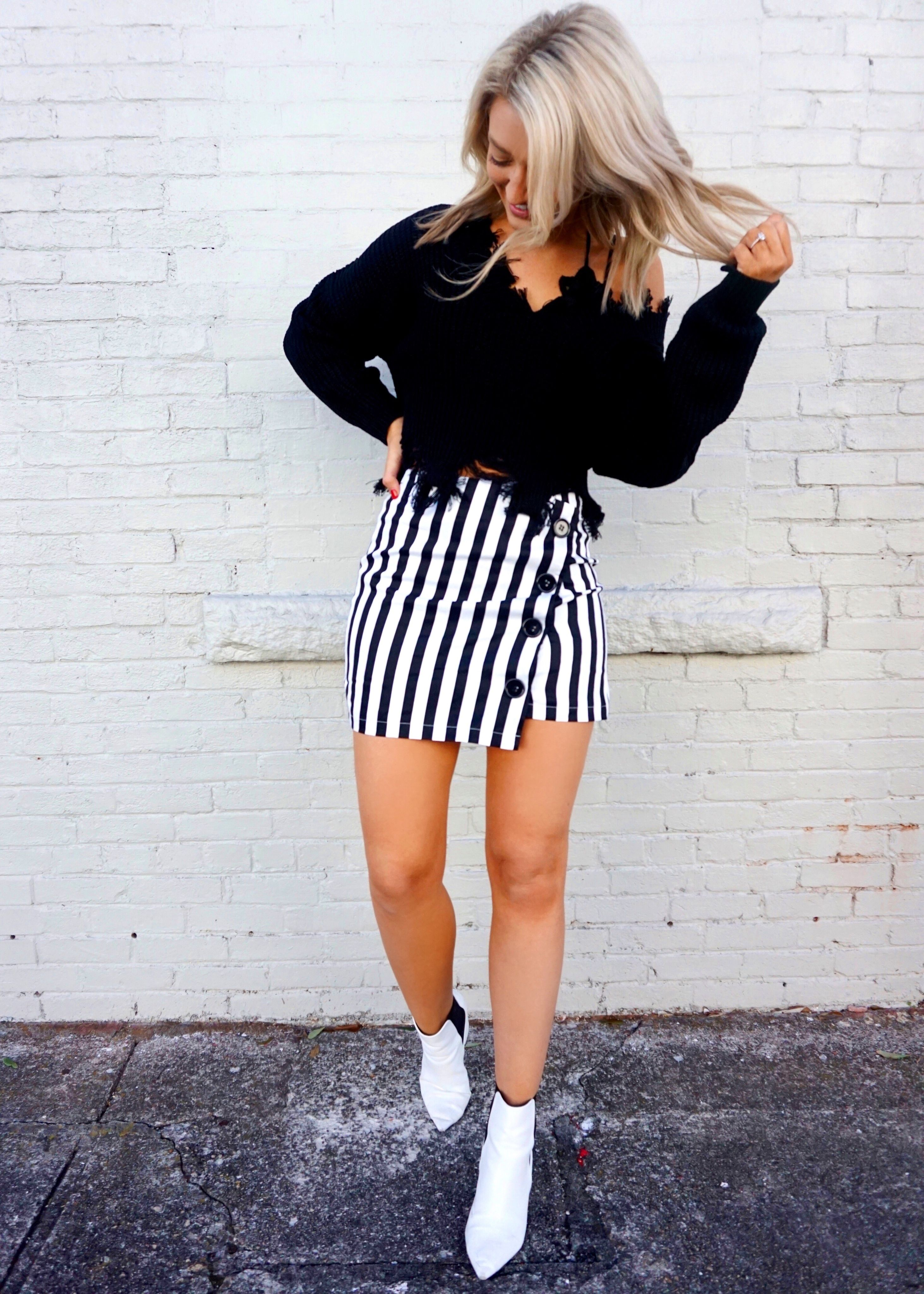 4df71ce05 OBSESSED, OBSESSED, OBSESSED with our NEW Straight to the Point Striped  Skirt! Featuring