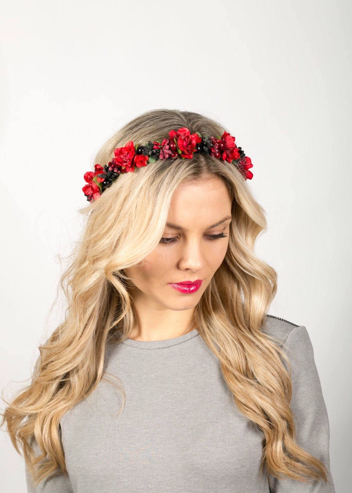 Red flower crown wedding floral crown wedding headband flower excited to share the latest addition to my etsy shop red flower crown wedding floral crown wedding headband flower circlet bridal crown wedding hair izmirmasajfo