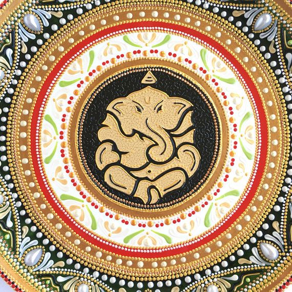 Decorative ceramic plate for hanging, Ganesha good luck home decor ...