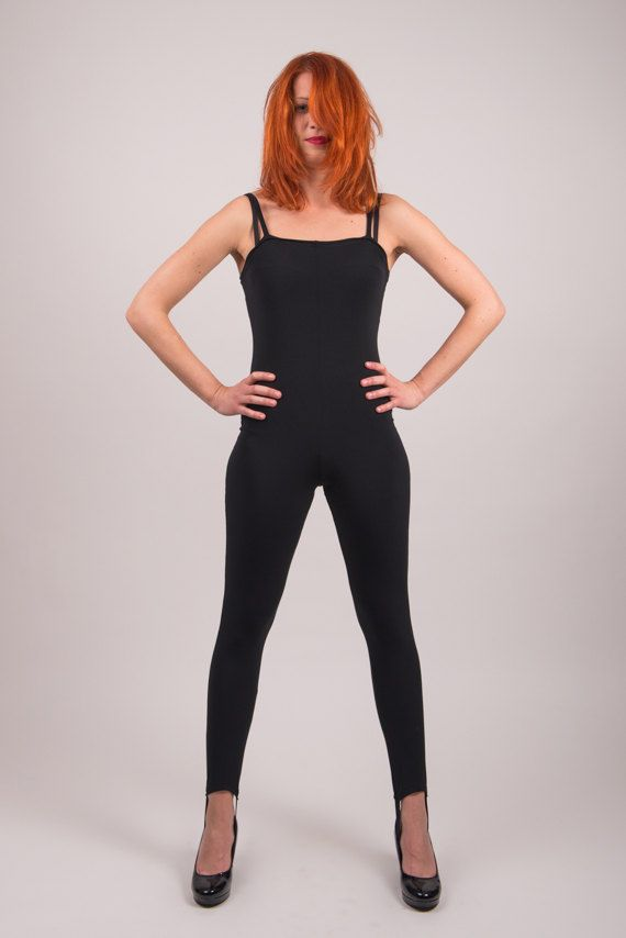 3335b857f751c 1990's Black Catsuit 90's Fitted Bodycon Stirrup by mijumaju, $55.00 Black  Catsuit, Stirrup Leggings