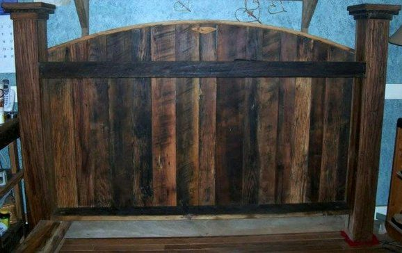 Custom made headboard made out of reclaim wood at patrickuph.com!