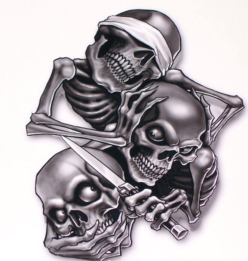 Evil Skulls Airbrush Black And White On Cars Google Search - Skull decals for trucks