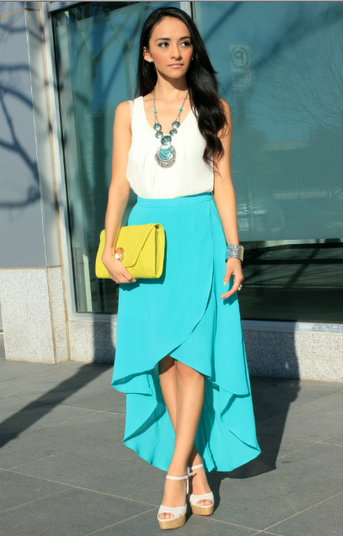 Cream and teal...