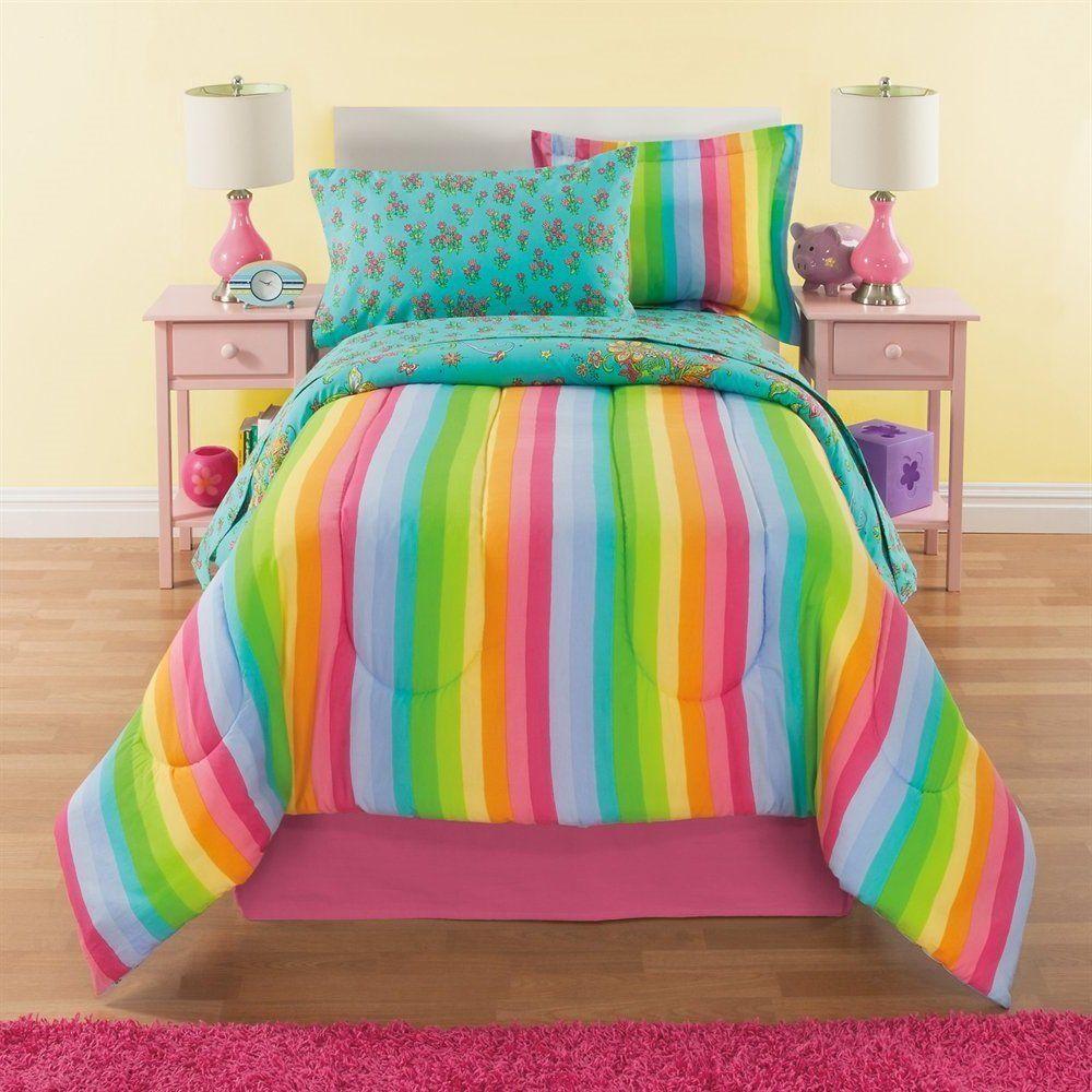 8 Piece Girls Rainbow Comforter Set Full Unicorn