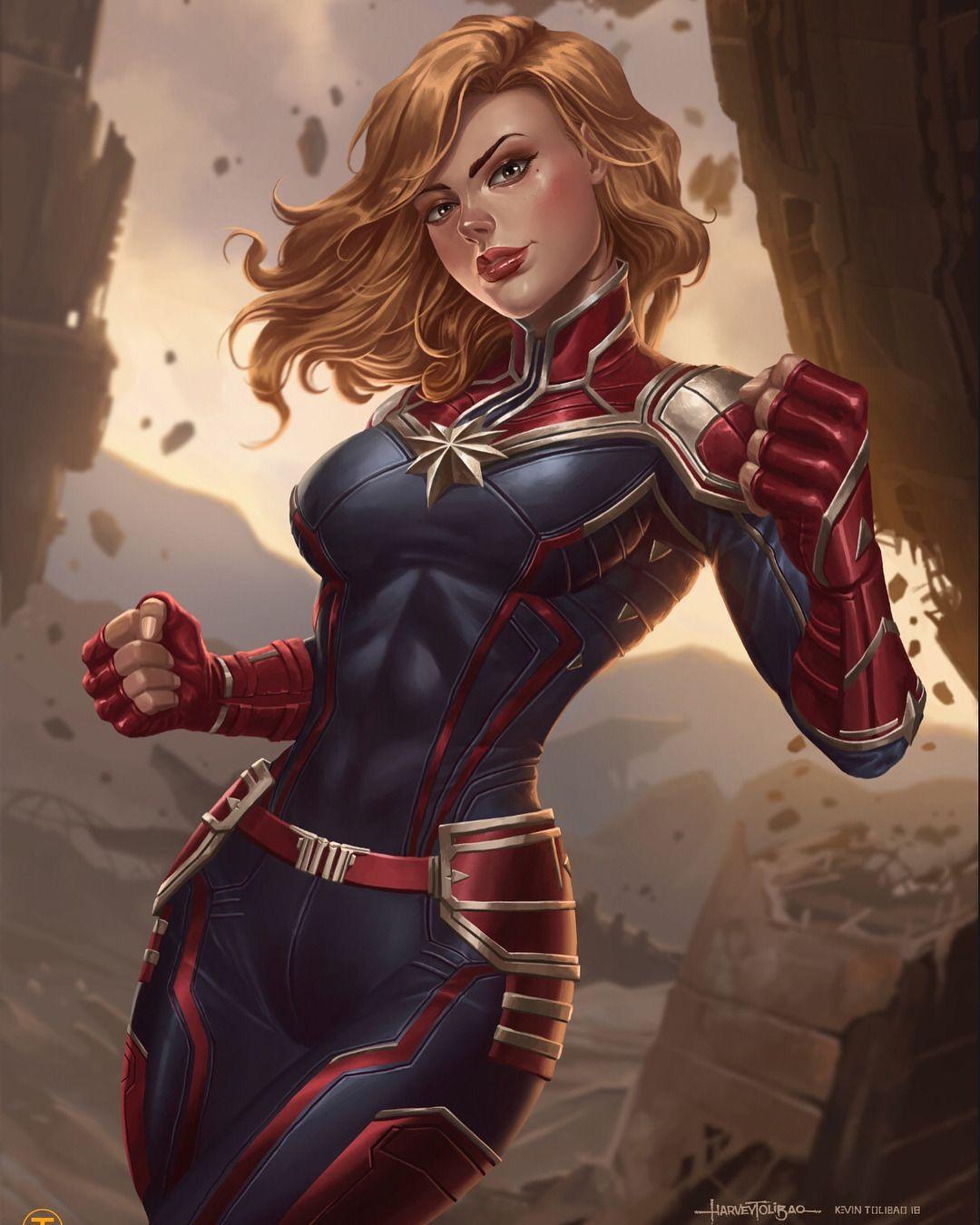 Captain Marvel by Harvey & Kevin Tolibao   Marvel fan art, Marvel ...