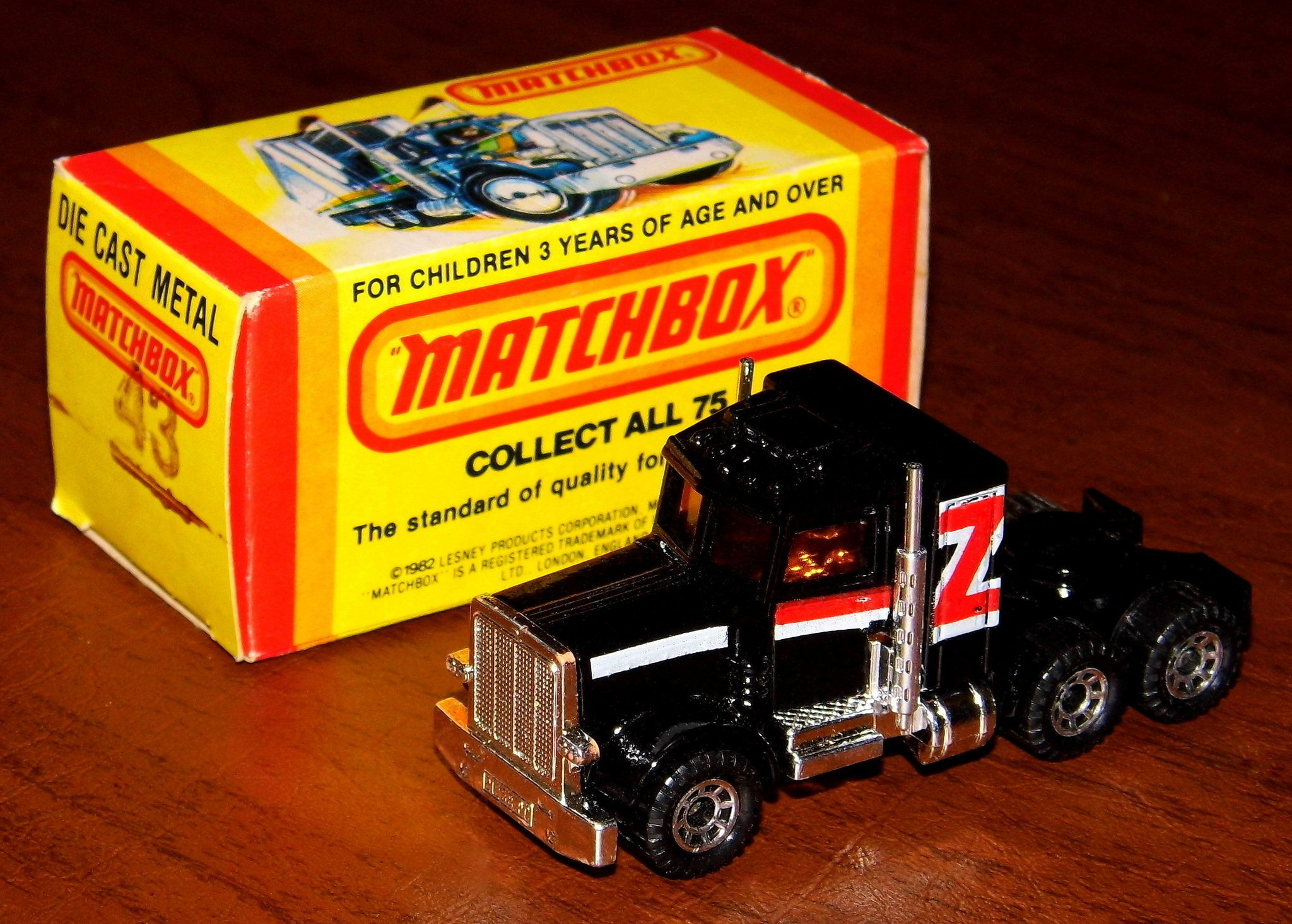 https://flic.kr/p/2372L3B | Vintage Matchbox Peterbuilt Conventional Tractor Die-Cast Car Model (43), NOS, Made In England, Vehicle Copyright (1981), Box Copyright 1982, By Lesney Products