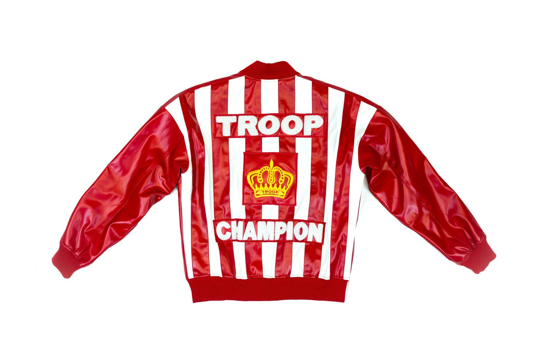 Troop Champion Leather Jacket Red White Thedrop Com Red Jacket Champion Jacket Leather Jacket [ 1201 x 1800 Pixel ]