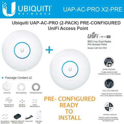 Ubiquiti Unifi Ap Ac Pro Access Point Uap Ac Pro Pre Configured Wireless Dual Band 2 Pack Dual Band Wireless Networking Radio Band