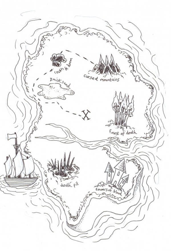 Island To Island Treasure Map Coloring Page Kids Play