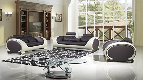 American Eagle Furniture Baltimore Collection Ultra Modern Bonded Leather  Living Room 3 Piece Sofa Set With Pillow Top Armrests And Adjustable  Headrests ...