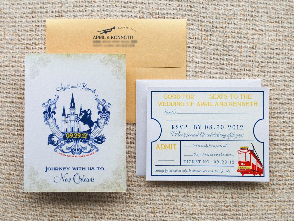 Old World Travel Booklet Wedding Invitation - New Orleans. $50.00 ...