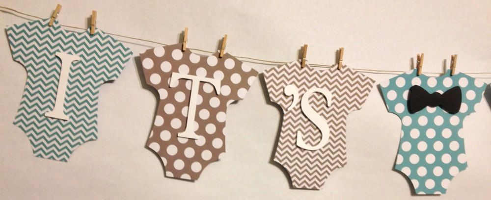 Itu0027s A Boy Baby Banner, Mini Clothespin, Baby Shower Decorations, Party  Decorations, Bow Tie Theme