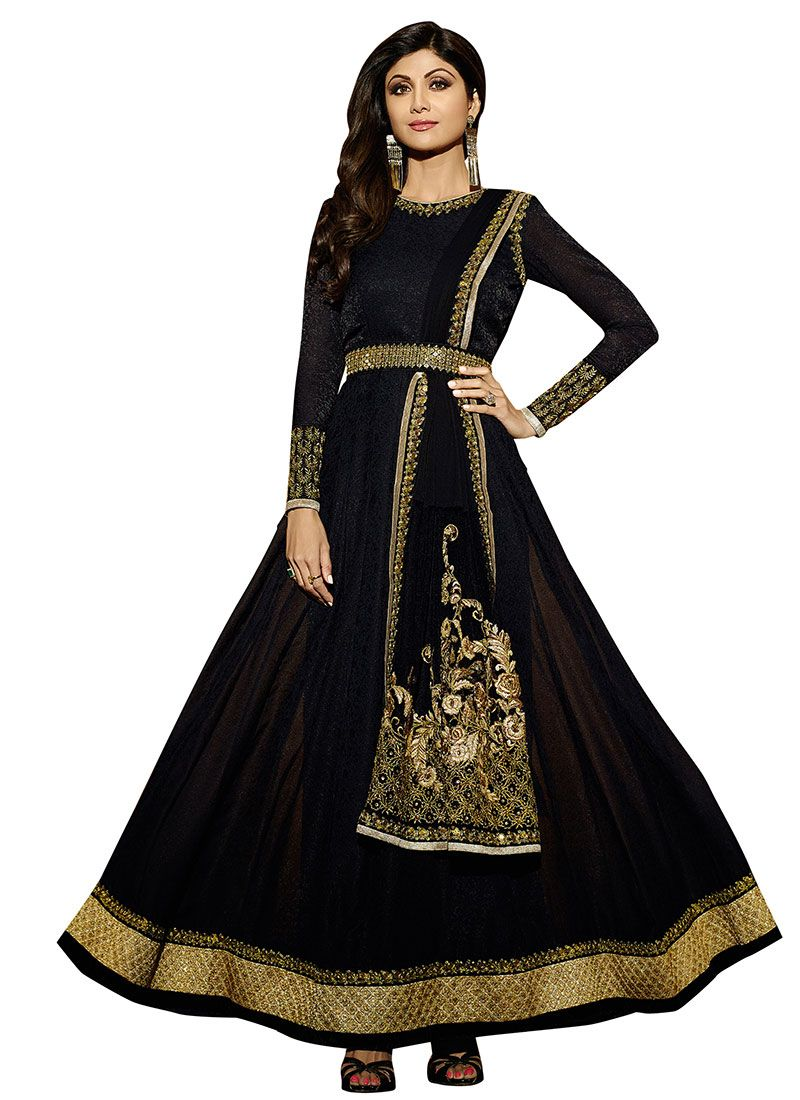 8820edab18 Buy Shilpa Shetty Black Anarkali Suit online from the wide collection of Salwar  Kameez. This Black colored Salwar Kameez in Faux Georgette fabric goes well  ...
