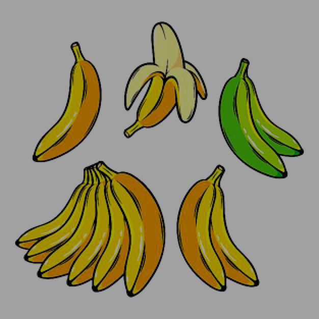 Vector Set Of Cartoon Yellow Bananas Overripe Banana Single Banana Peeled Banana Bunch Banana Pineapple Vector Overripe Bananas