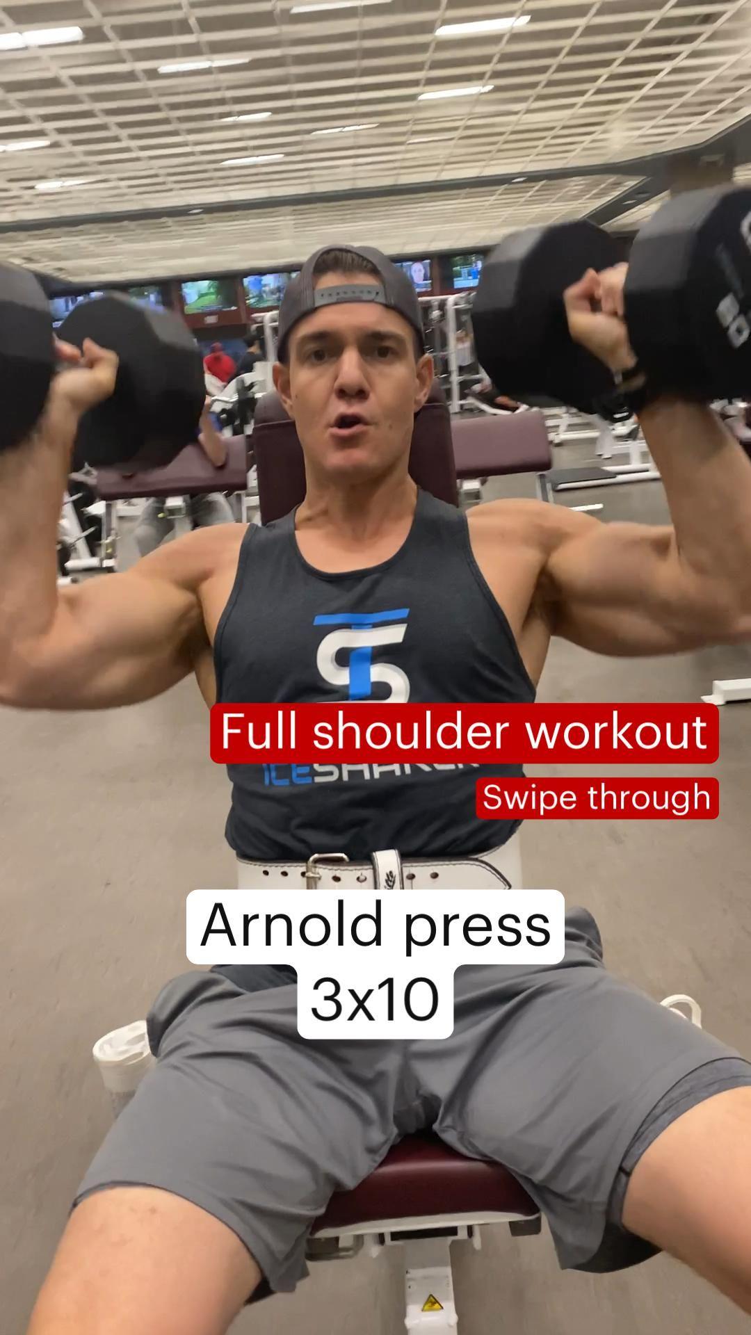 Full shoulder workout at the gym.