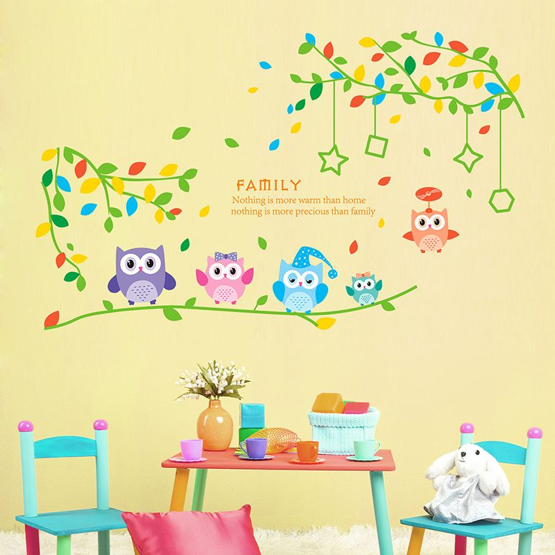 SHIJUEHEZI] Cute Night Owl Tree Wall Stickers Baby Room Vinyl Self ...