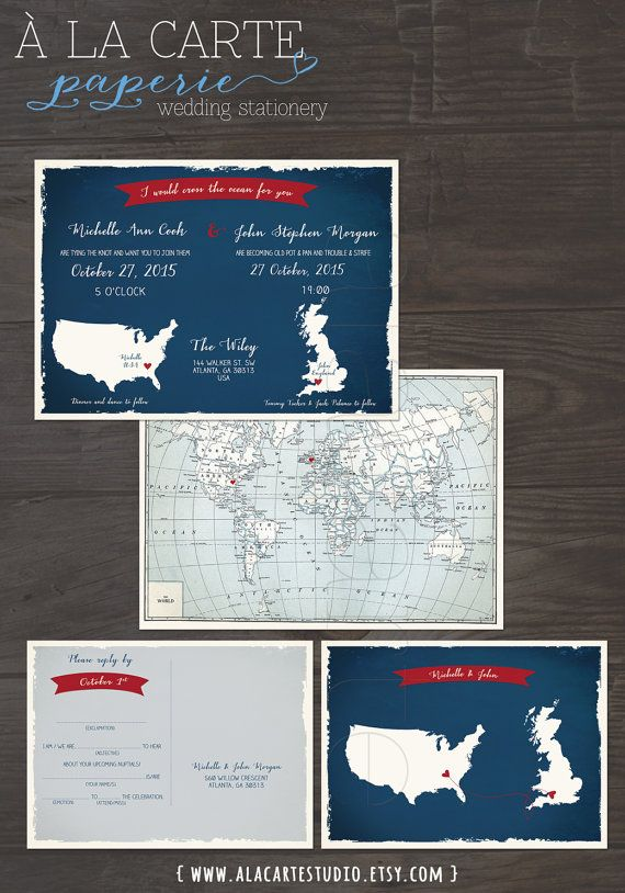 Uk England Usa Wedding Invitation And Fun Mad Libs Style Rsvp Card