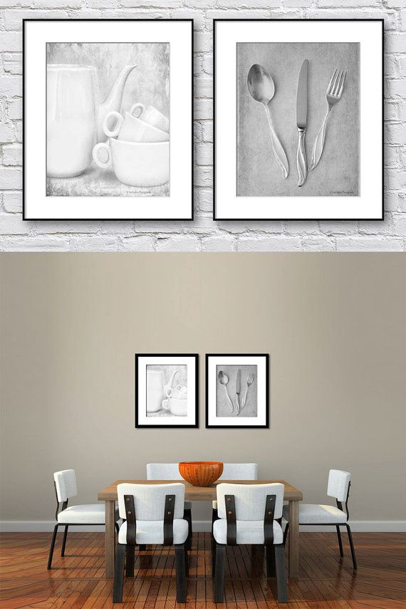 Kitchen wall art black and white set of 2 prints dining room wall art gray wall art prints of kitchenalia