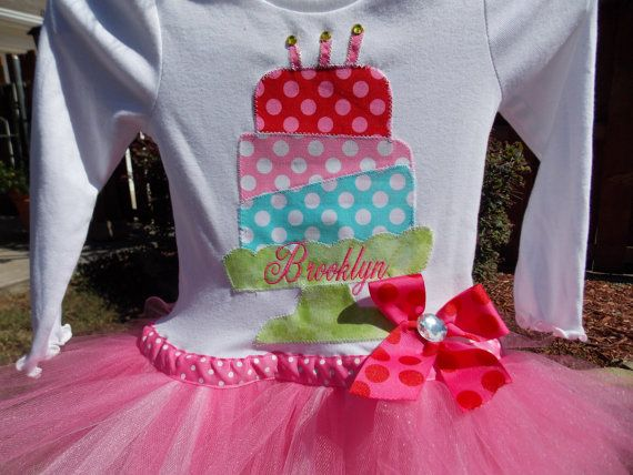 EXCLUSIVE  Birthday Applique Tutu Tshirt Dress for by BubbleBabys