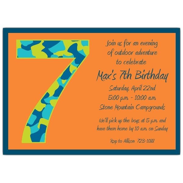 Birthday Boy Camo 7th Birthday Invitations Birthday Party Invitation Wording Birthday Invitations Kids Party Invitations Kids