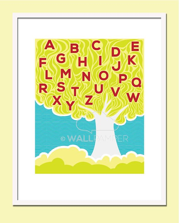 8x10 Nursery Art Prints Alphabet Tree Wall Print by Wallpamper ...