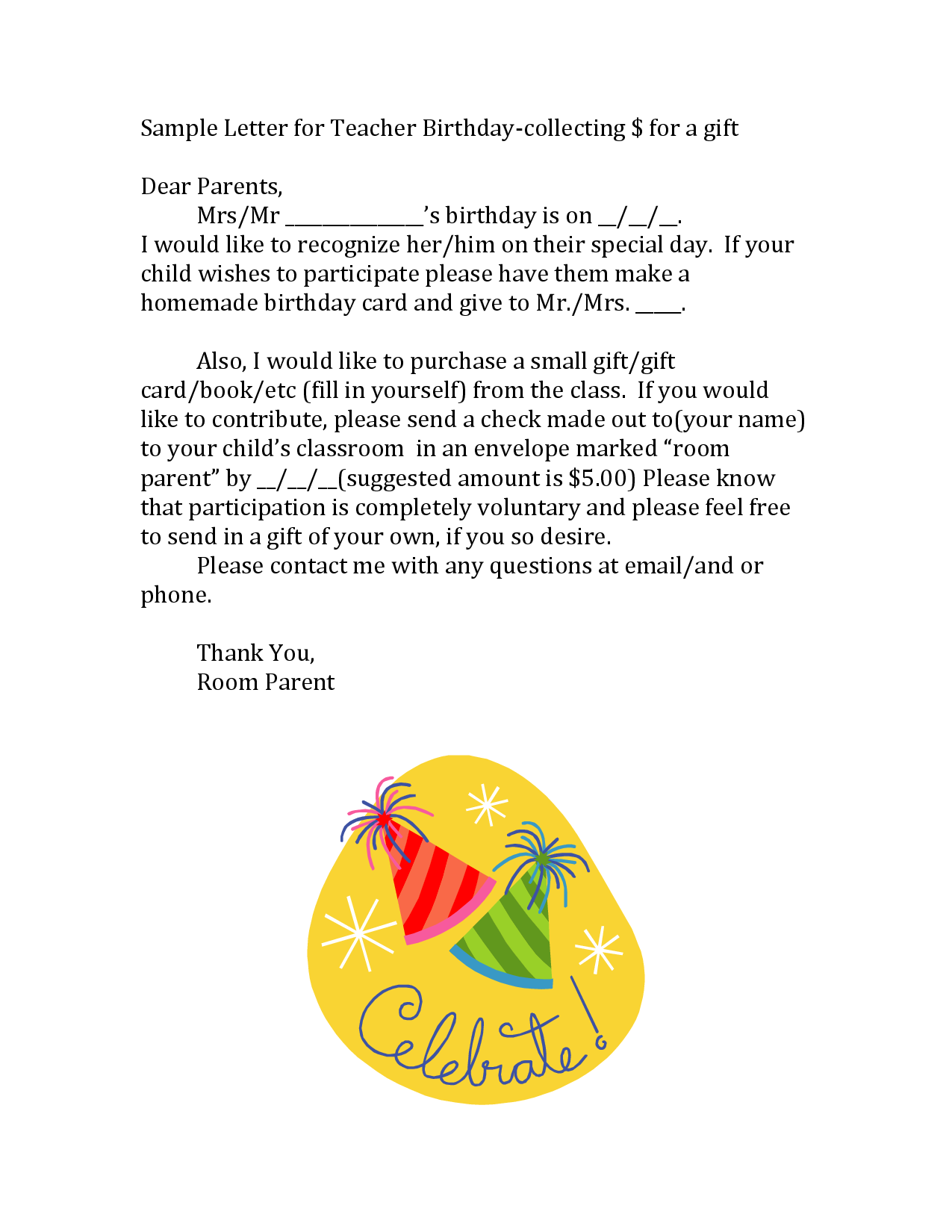 sample letter for teacher birthday