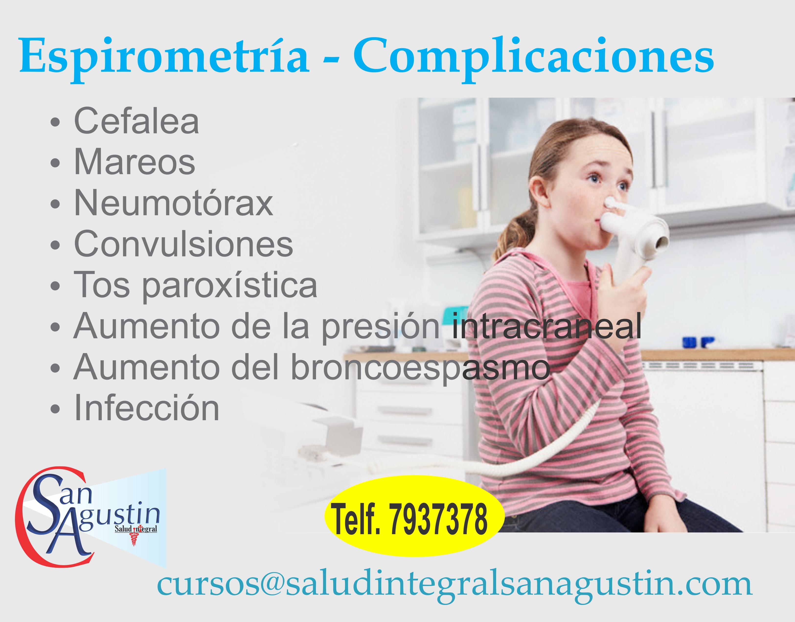 Espirometria y sus complicaciones frecuentes. Salud Integral San Agustin vende equipos como Espirometros, Boquillas para espirometros, audiometros, Cabinas de audiometria, entre otros productos en Salud.
