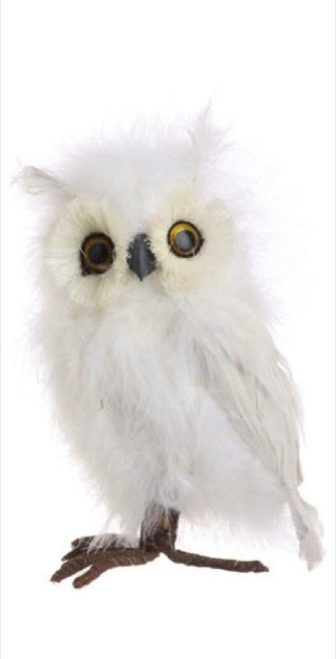 8 whimsical white feather covered standing owl christmas ornament 1260