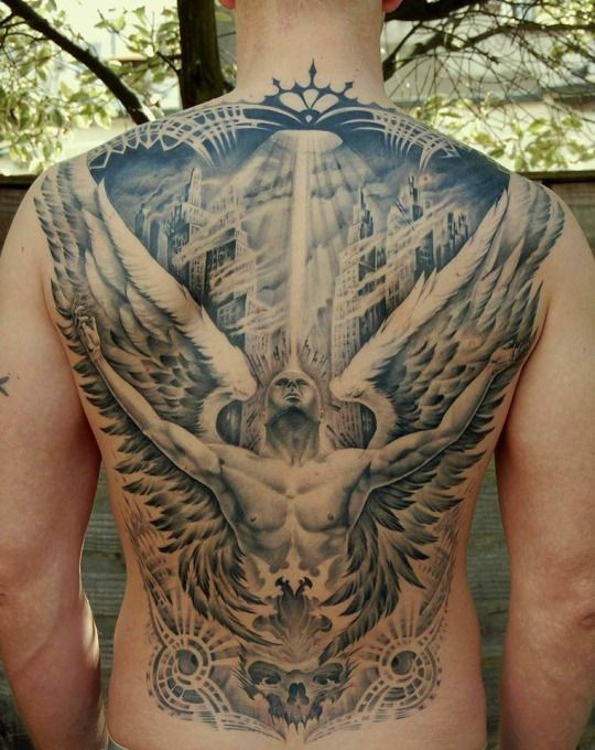 43 heavenly angel tattoo designs small angel tattoo for Chest mural tattoos