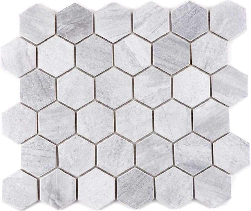 Badezimmer Fliesen Ebay Mosaik Fliese Keramik Grau Hexagon Travertin Grau Matt Wb11g 0202