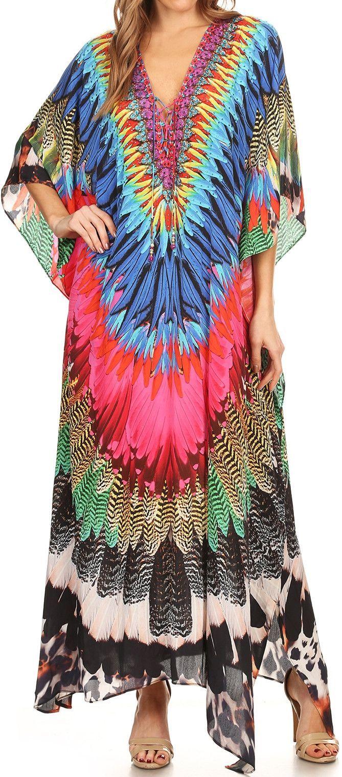 Sakkas Georgettina Flowy Rhinestone V Neck Long Caftan Dress Cover Up Long Caftan Dress Caftan Dress Dress Cover [ 1520 x 669 Pixel ]