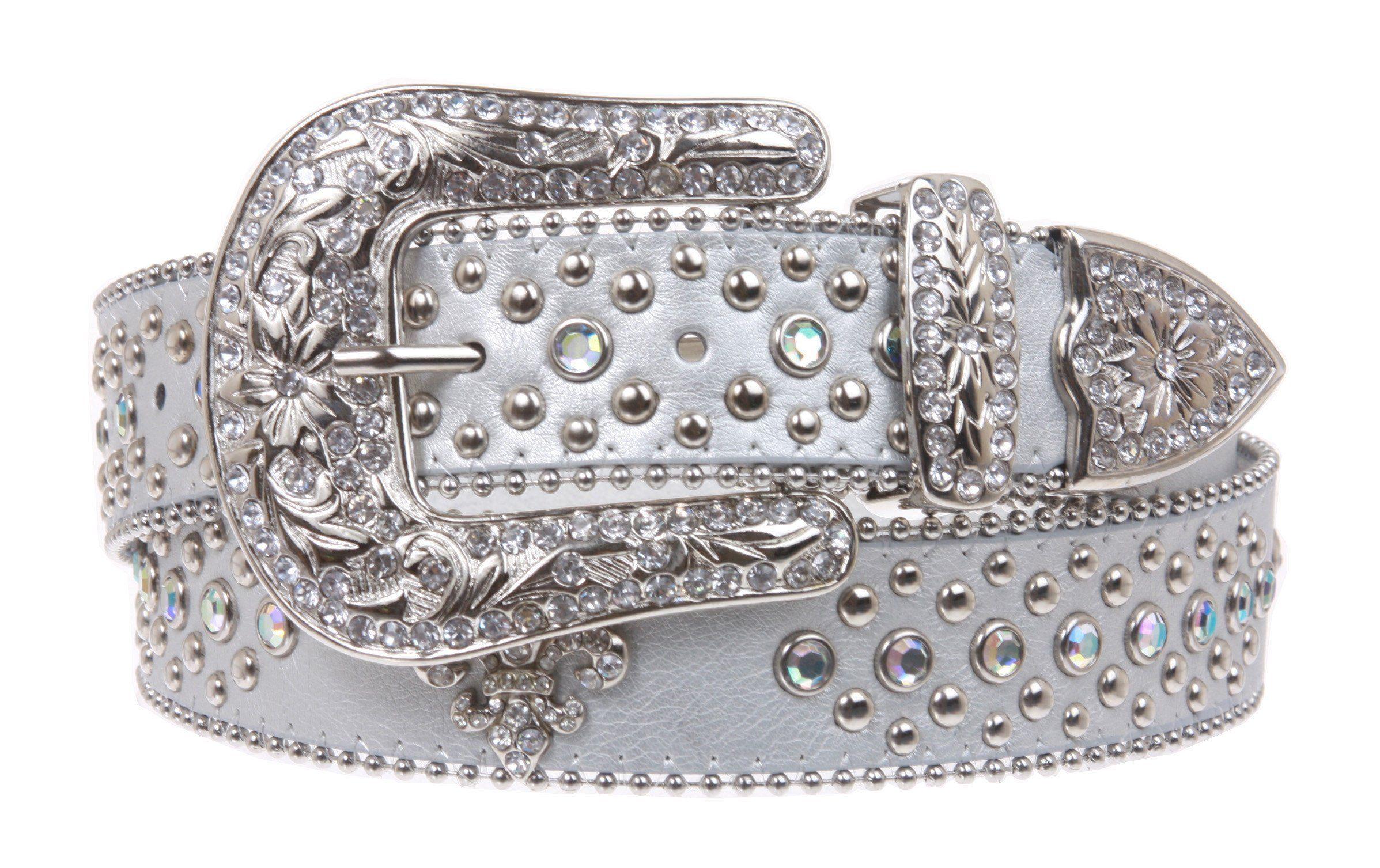 Ladies Western Rhinestone Silver Circle Studs and Fleur De Lis Ornaments Genuine Leather Belt