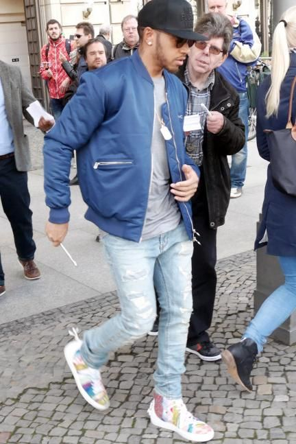 Lewis Hamilton wearing Android Homme Alfa High Sneakers in Coogi, M+Rc Noir  Bombers