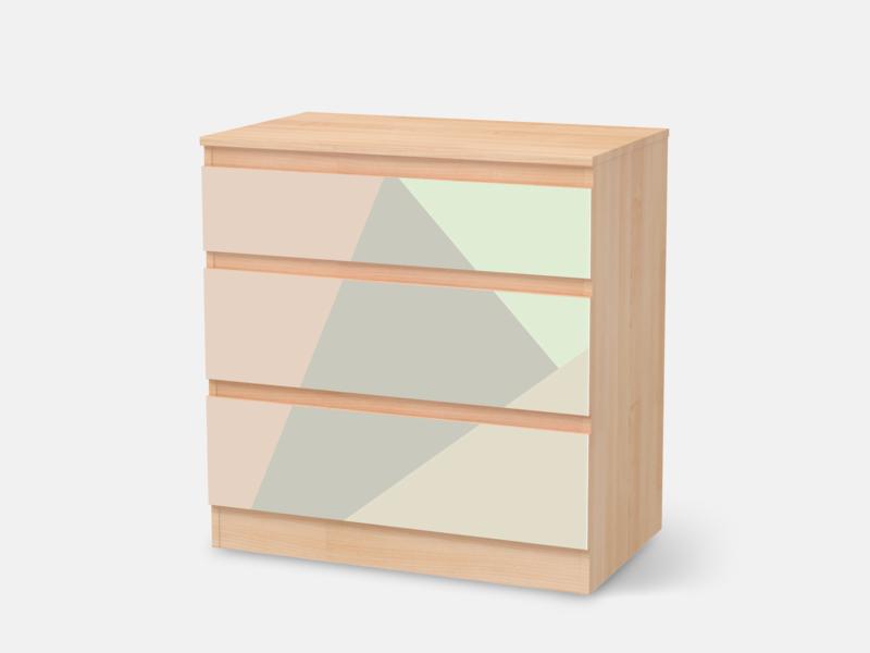 Designfolie Pastell Geometrik Fur Dein Kullen Kommode 3 Schubladen
