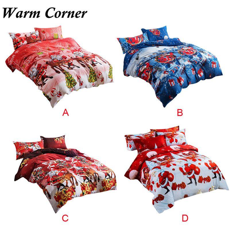 4pcs High Quality Home Textile Christmas Bedding Set Duvet Cover Bed