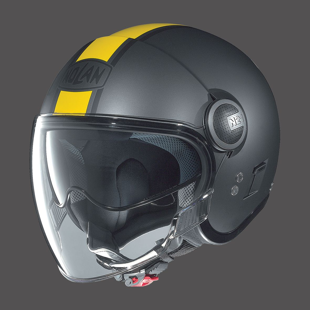 casco jet uso urbano nolan n21 visor flat asphalt black yellow